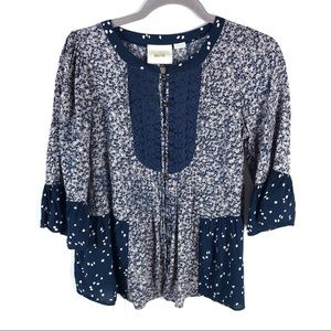 Anthropologie Maeve Navy Bell Sleeve Blouse